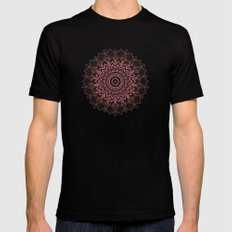 BOHOCHIC MANDALA IN CORAL Mens Fitted Tee Black SMALL