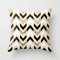 Black, White & Gold Glit… Throw Pillow