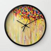 OPPOSITES LOVE Raining Sunshine - Bold Bright Sunny Colorful Rain Storm Abstract Acrylic Painting Wall Clock