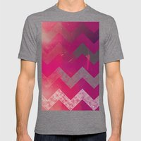 PINK Chevron Mens Fitted Tee Tri-Grey SMALL