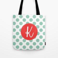 Monogram Initial K Polka Dot Tote Bag