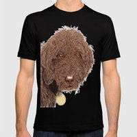Chocolate Labradoodle Mens Fitted Tee Black SMALL