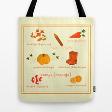 Colors: orange (Los colores: naranja) Tote Bag