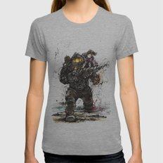 Bioshock Subject Delta and Little Sister Womens Fitted Tee Athletic Grey SMALL