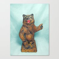 Sexy Hitchhiking Bear Statue Canvas Print