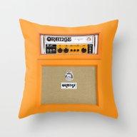 Retro Orange Guitar Elec… Throw Pillow