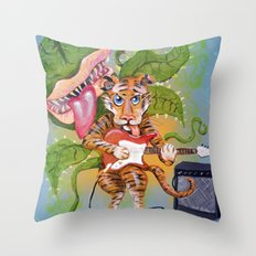 Guitar Playing Tiger with Audrey Throw Pillow