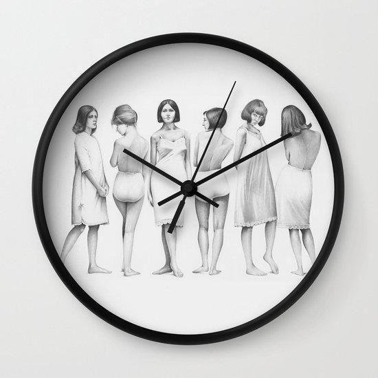 white girls Wall Clock