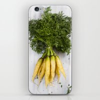 Organic Vegetable - Organic Yellow Carrots On Old White Wood iPhone & iPod Skin