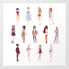 casual princesses - group Art Print