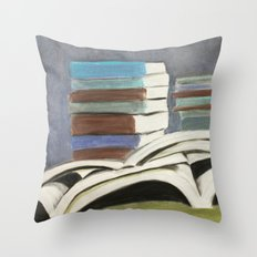 Books - Pastel Illustration Throw Pillow