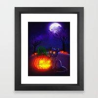 Halloween Kitty Framed Art Print