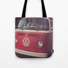 Volkswagen Bus Red & White Vintage Print Tote Bag
