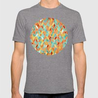 Tangerine & Turquoise Geometric Tile Pattern Mens Fitted Tee Tri-Grey SMALL