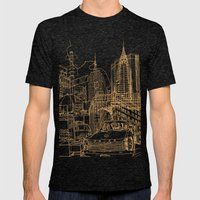 New York! Night Mens Fitted Tee Tri-Black SMALL