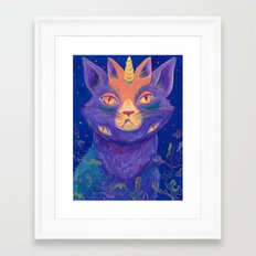 Galactic Kitties: Topaz Framed Art Print
