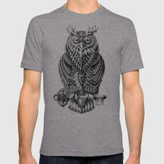 Great Horned Owl Mens Fitted Tee Tri-Grey SMALL