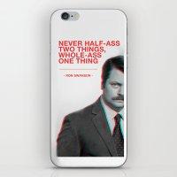 Ron Swanson - Never Half Ass iPhone & iPod Skin