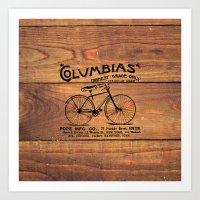 Black Brown Vintage American Bicycle on Wood Print Art Print