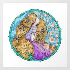 Rapunzel Art Nouveau White Background Art Print