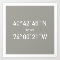 New York Coordinates Art Print