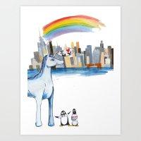 Unicorn Penguin Love NYC Art Print