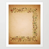 Gold Roses Right Manuscr… Art Print