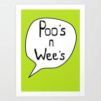 Poo's  n Wee's Green Art Print
