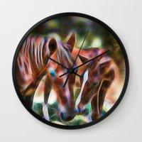 Horse Kisses Wall Clock