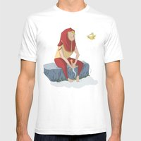 henon and his bird Mens Fitted Tee White SMALL