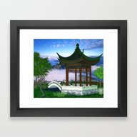 Framed Art Print featuring Pagoda Fantasy Scene by BohemianBound