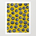 Blueberry pattern Art Print