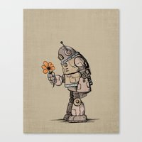 A Robot And His Flower Canvas Print