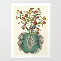Anatomy of a Female Orgasm anatomical collage art by bedelgeuse Art Print