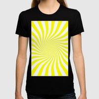 Swirl (Yellow/White) Womens Fitted Tee Black SMALL