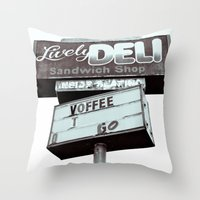 Old Deli Sign Throw Pillow