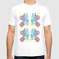 Spring Rose Bear Mens Fitted Tee White SMALL