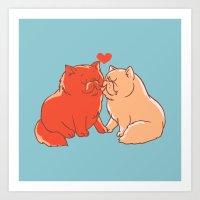 Cat Kisses Art Print