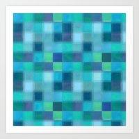 Blue Squared Art Print