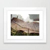 Dew drops on a fallen leaf Framed Art Print