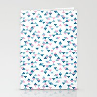Triangles Blue and Pink Repeat Stationery Cards