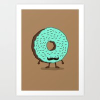 The Mustache Donut Art Print