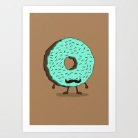 The Mustache Donut Art Print