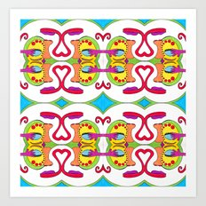 abstract face pattern Art Print