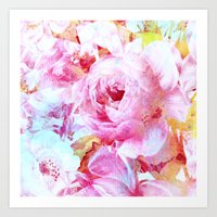 floral with turquoise spatter Art Print
