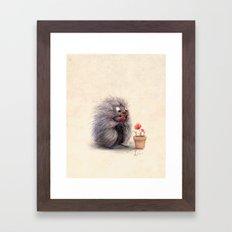Porcupine Eating Geraniu… Framed Art Print