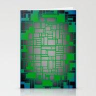 Teal Green Art Deco Patt… Stationery Cards