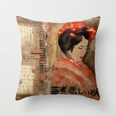 GEISHA SAD SONG Throw Pillow