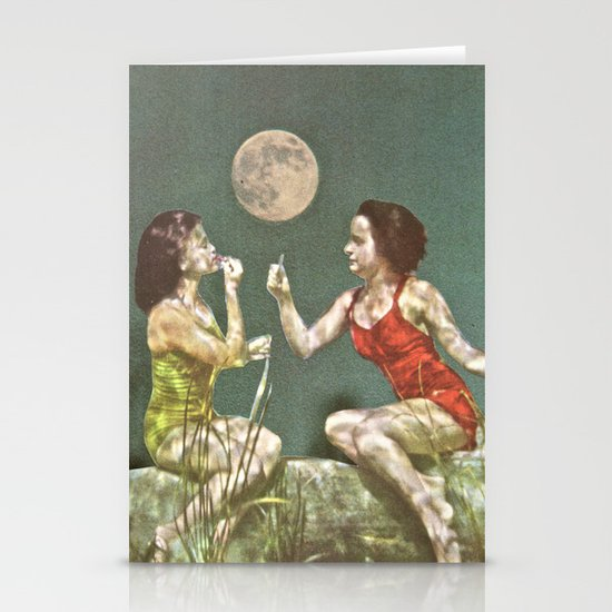 By The Light Of The Silvery Moon Stationery Card