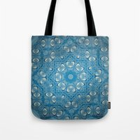 Wisdom is a Butterfly -- Bohemian Mandala in Vintage Ivory on Blue Duotone Tote Bag